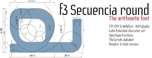 f3 Secuencia round, arithmetic font
